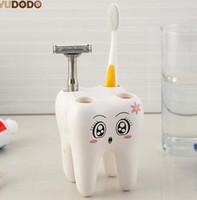 Soporte para cepillo de dientes estilo dientes, portaherramientas con 4 orificios para cepillo de dientes, estante para cepillo de dientes, conjunto de accesorios de baño de contenedor de soporte