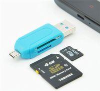 Lettore universale di schede di memoria del lettore di schede del PC del telefono cellulare del lettore di schede universali di trasporto libero Micro USB OTG lettore di schede OTG TF / SD memoria flash All'ingrosso