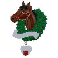 Cheval avec guirlande Décorations de Noël personnalisées comme souvenir de fabrication pour des cadeaux ou des décorations pour la maison