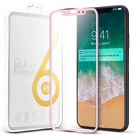 For iPhone X Screen Protector Curved Metal Frame Rim Tempere...