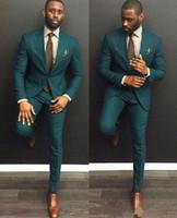 Caçador verde feito sob encomenda feita slim fit smoking bones bonitos ternos dois pedaços casamento terno para homens