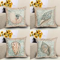 18 '' Ocean Style Coussin Couvre 4 Types Conch Shell Coton Throw Taie D'oreiller Décoratif À La Maison Canapé Coussin Cover Taie D'oreiller Freeshipping