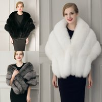 2020 Winter Bruids Bruiloft Jas Faux Bont Wraps Warm Sjaals Bovenkleding Zwart Gary White Women Jas Prom Avond Super Long 155 * 44 cm
