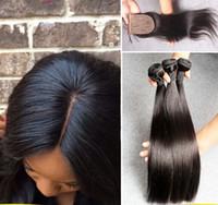 Seda brasileña recta 4 * 4 de seda Base de cierre con paquetes de cabello Brasileña recta 3pcs cabello humano con seda de cierre superior 4pcs / lote