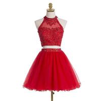 Deux pièces robes de bal courtes col haut sans manches tulle rouge dentelle perlée appliques découpées dos robes de soirée de retour formel