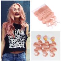 레이스와 핑크 인간의 머리카락 정면 로즈 핑크 살롱 인기 컬러 바디 웨이브 레이스 정면과 번들 베이비 핑크 브라질 버진 헤어