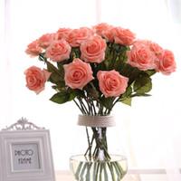 9 colores Artificial Rose Craft flores de seda Real Touch flores elegante Rose Bouquets para la boda nupcial ramo decoración flores ELF006