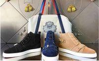 [المربع الأصلي] ثلاثة ألوان فرانش أعلى أحمر أسفل حذاء رياضة أحادية حزام من جلد الغزال أحذية رياضية Hightop جلد طبيعي مع أحذية Ziper الأسود الكاكي الأزرق