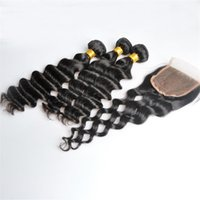 Hair Weft With Closure Loose Deep Unprocessed Brazilian Indi...