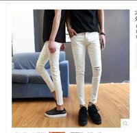 Wholesale- Men jeans Denim Pants Hole jeans Couple Jeans