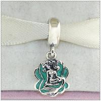 Yeni 925 Ayar Gümüş Ariel ve Deniz Kabuğu ile Dangle Charm Boncuk Emaye Avrupa Pandora Stil Takı Bilezikler Kolye Kolye Uyar