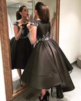 Najnowsze 2017 Uroczy Little Black Cocktail Sukienki Bateau Neck Capped Rękawy Shiny Beaded Fluffy High Niski Koktajl Suknie Krótki