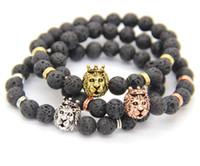 2016 Hot Sale Men Gift Jewelry Alta calidad 8mm Piedra de la lava con Antique SilverGold Crown Lion Head Pulseras, venta al por mayor