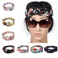 Kadınlar için büküm Turban Çiçek Kafa Baskılar Streç Hairbands Spor Headbands Yoga Headwrap Bandana Kız Saç Aksesuarları KKA2680