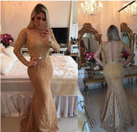Gold Illusion Sheer Long Sleeves Mermaid Prom Dresses Beaded...