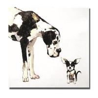Pintura al óleo animal pintado a mano en lona precio barato pintura al óleo del perro grande para la sala de arte moderno de la lona