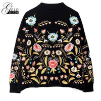 Gold Hands Plant Botanical Embroidered Women Sweater Black C...