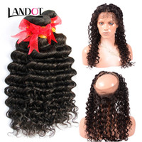 360 Lace Frontal Closures With 3 Bundles Brazilian Deep Wave...