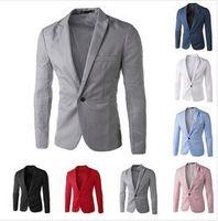 Commercio all'ingrosso-2016 Nuovo arrivo uomini vestito Blazer Uomo Solido Colore Solido Casual Blazer Casual Masculino One Butting Blazer Suits Giacca
