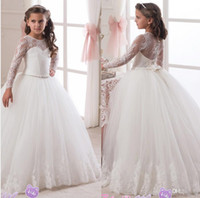 Lace Long Sleeves Rhinestones Ball Gown Flower Girl Dresses ...