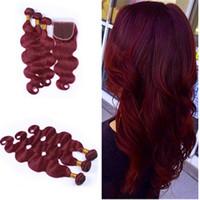 Чистый цвет # 99J вина красный цвет волосы плетения с кружевной закрытием необработанные бразильские человеческие пакеты волос с верхним кружевом закрытия 4 шт. / Лот