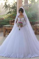 2017 nouvelle exquised disait mhamad manches longues robes de mariée tulle robe de balle élégant appliques arabe vestido de novia robes de mariée sur mesure