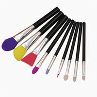 9Pcs Spazzole in silicone Pennello trucco unico Maschera in silicone colorato Eyeliner Eyeliner Pennelli per labbra Set Pennello cosmetico Kit di strumenti DHL Libero