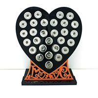 Coeur acrylique de noir de mode de nouveaux présentoirs de bouton instantané de 18mm avec le panneau d'affichage interchangeable de bijoux de lettre