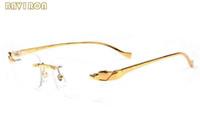 Kadınlar Altın Metal Çerçeve Mens Buffalo Horn Gözlük Gözlük Güneş gözlüğü Big Çerçevesiz gözlükler Lunettes için 2020 Moda Erkek Spor Güneş Gözlüğü