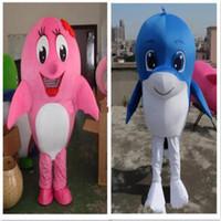 Dolphin Mascot Costume Ocean animal Mascot Costume Com Duas Cores Animal Do Mar Golfinho Mascotes Adulto Tamanho Festival de Natal