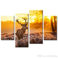 Stampa su tela Wall Art Pittura Deer in Forest Sunset 4 Panel Paintings Giclée Opere d'arte Immagini animali Stampe su tela per soggiorno