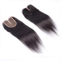 Hair Lace Closure 4x4 البرازيلي موجة مستقيمة الإغلاق ، إغلاق الشعر البشري مع إغلاق الجزء الأوسط عقدة ابيض
