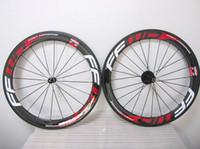 Brilhante FFWD fibra de carbono completo Red decalque 60 MM rodas de bicicleta de estrada de basalto rodas de carbono de travagem com Novatec A271hubs