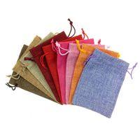 100 قطعة الرباط القطن الكتان الحقائب متعدد الألوان هدية حقيبة لحفل زفاف الحلوى الصغيرة الزهور مجوهرات حقيبة التعبئة
