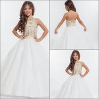 RACHEL ALLAN 2020 Girls Pageant Dresses With Gold Rhinestone Halter Tulle Floor Length Ball Gown Flower Girls Dresses Prom Dresses HY00700