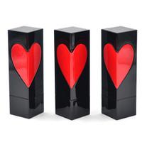 빈 립스틱 튜브 심장 모양, 검은 색 사각형 립스틱 포장 병, DIY 화장품 컨테이너 붉은 심장 패턴 F20172405