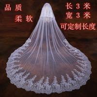 Deux couches bon marché voile de mariée Cathédrale longueur Tulle long voiles voiles de mariage dentelle applique accessoires avec peigne libre