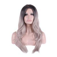 WoodFestival pelucas grises pelucas sintéticas rizadas de la peluca de la parte femenina de la resistencia térmica para las mujeres pelucas negras largas del pelo de la fibra del ombre del cosplay de la peluca gris