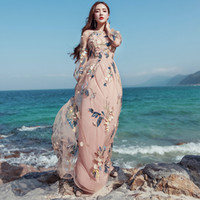 Vintage Mexican Dress Women Spring Summer Embroidered Mesh L...