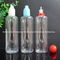 Heißer Verkauf PET Kunststoff Leere Tropfflasche Flüssigkeit Flasche 120 ml Große Kapazität Klar E Flüssigkeit E Saftflaschen Mit Manipulationssicheren Caps