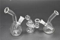 두꺼운 미니 여행 작은 유리 물 봉 미니 담배 파이프 리사이클 장비를 드롭 석유 비커 그릇 다운 스템 버블 러 퍼크 14mm 10mm