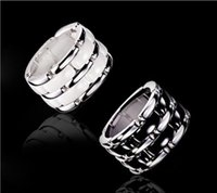 Luxury Black White Double row Ceramic Chain Style Rings, Pla...