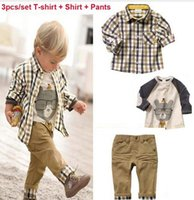 3pcs set 2016 Spring Autumn Baby Boys Clothing Set Fashion L...