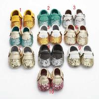 2016 جديد بتأثيرات اللون الرضع الأولى ووكر أحذية الطفل الشرابة الترتر عدم الانزلاق لينة أسفل جلد طبيعي الأحذية الشحن المجاني