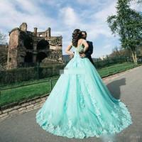 민트 공 가운 Quinceanera 드레스와 진주 레이스 Appiques 볼 가운 댄스 파티 드레스 온라인 판매 레이스 업 가운