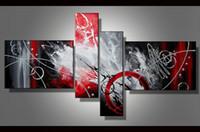 Arte Contemporáneo Múltiple 4 Unidades Conjuntos Pintura Al Óleo Abstracta Moderna en Lienzo Pintado A Mano Moderna Oficina Del Hogar Arte de la Pared Decoración Regalo ab49