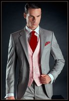 Latest Design Two Buttons Light Grey Groom Tuxedos Groomsmen...