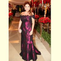 2017 Black Lace Fuchsia Lining Mother of the Bride Dresses Off The Shoulder A-line Длинные вечерние вечерние платья для свадебных гостей