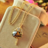 Süße heiße Frauen 18 Karat Gold Kristall Ballett Mädchen Lange Kette Pullover Halskette Anhänger # R571