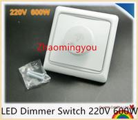 Envío gratis 1 unids LED Interruptor del atenuador 220V 600W Dimmers de brillo para luces LED ajustables, Techo Downlight, Spotlight, Par20, etc.